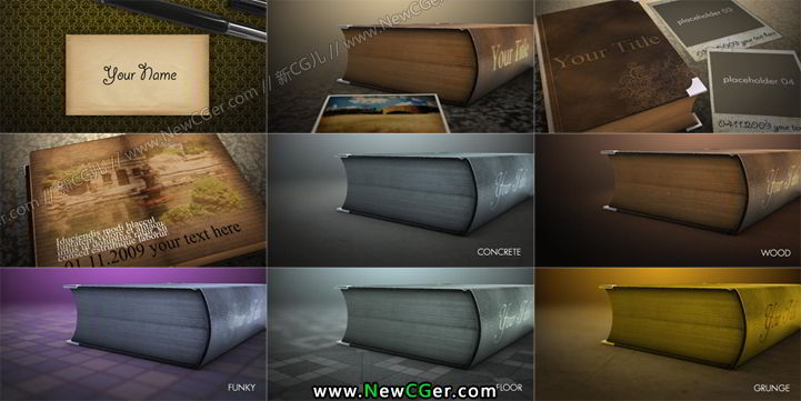 经典复古怀旧风浪漫相册AE模板多色环境光入Romantic Book_百度网盘