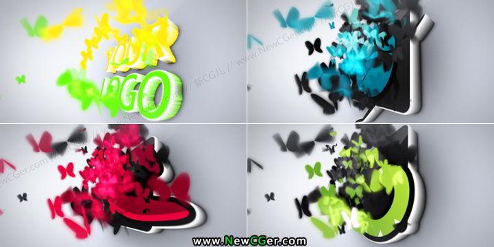 梦幻蝴蝶标志揭示动画AE工程Butterflies Logo Reveal_百度网盘
