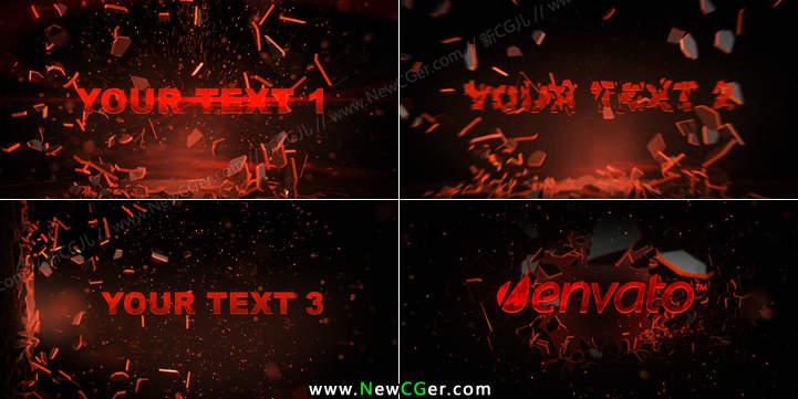 震撼的红色破碎爆炸字幕特效AE模板_百度网盘