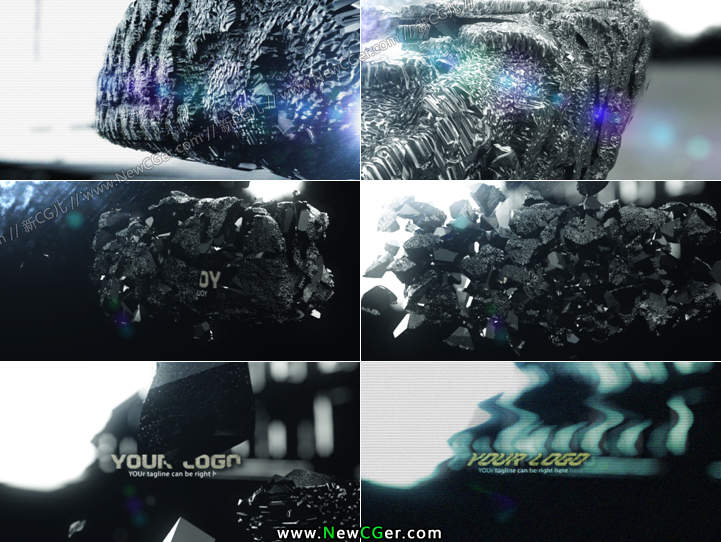 震撼的神秘古石爆炸logo揭示片头Ancient Shatter Ident_百度网盘