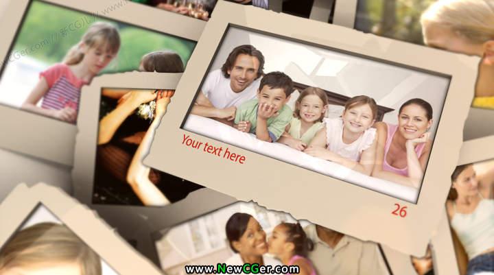 现代简约的相片掉落堆叠AE相册模板Modern Memories Album_百度网盘