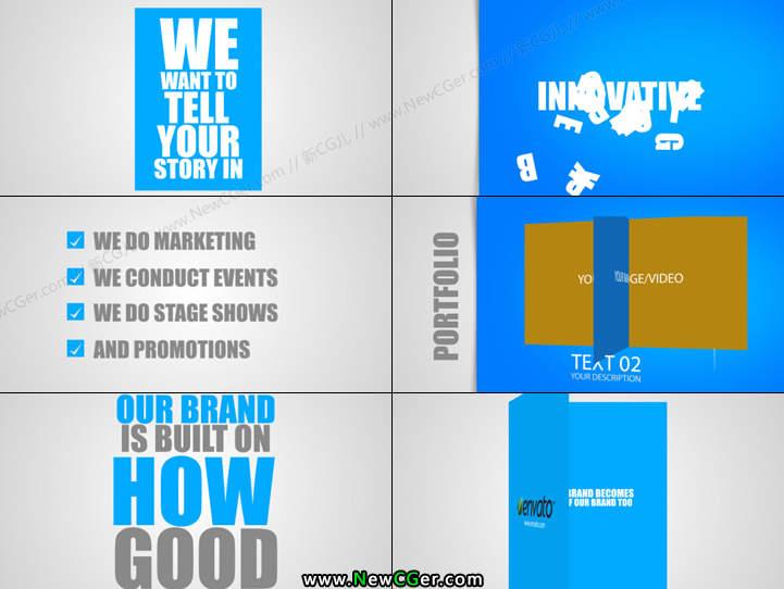 干净简洁的企业推广营销AE源文件长短2版入Promote Your Business_百度网盘