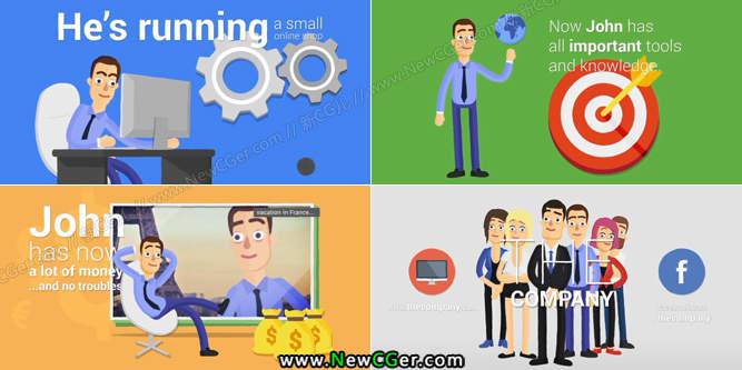 卡通风格的商务宣传推广动画创建器AE模板_百度网盘
