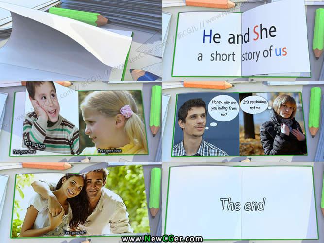 活泼有趣的卡通翻页爱情相册AE模板_百度网盘