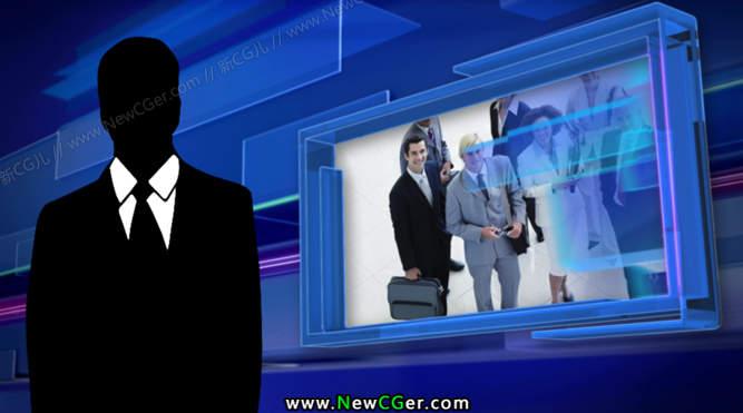蓝色商务/财经类型的电视虚拟演播室AE模板_百度网盘