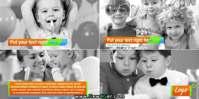 儿童节缤纷平滑的字幕条动画素材AE工程4枚入_百度网盘