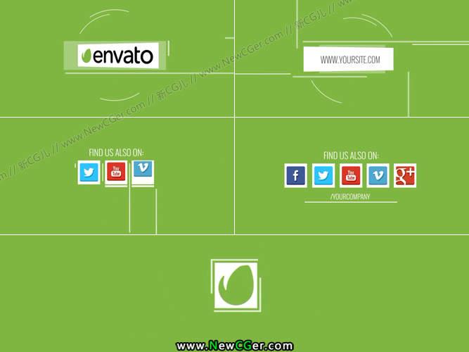 简约的扁平化社交媒体图标演绎设计AE模板_百度网盘
