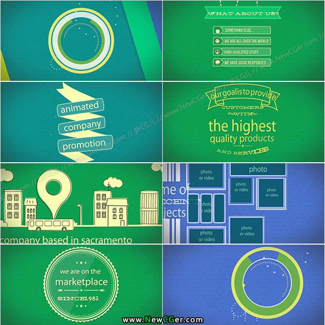 带有怀旧韵味的商务公司宣传推广MG动画AE模板_百度网盘