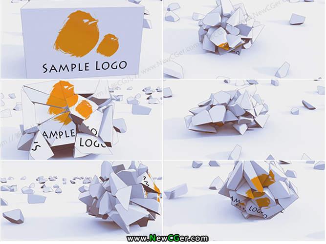 新颖搞怪的多边形碎块汇聚logo展示AE模板_百度网盘