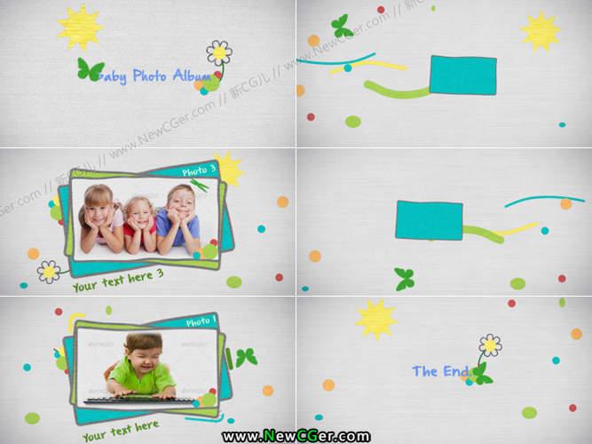 欢乐的儿童节/生日卡通手绘相册AE源文件_百度网盘