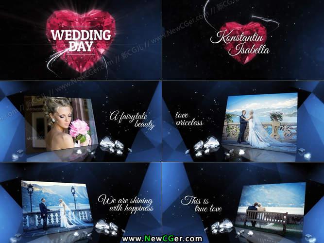 钻石般优雅奢华的闪耀婚礼图文展示AE模板_百度网盘