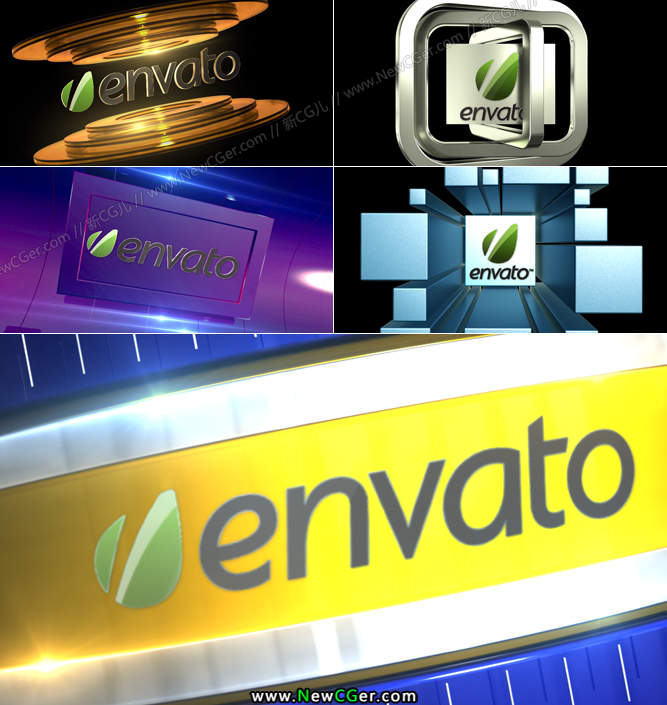 三维效果的电视包装式转场素材AE模板5款入_百度网盘