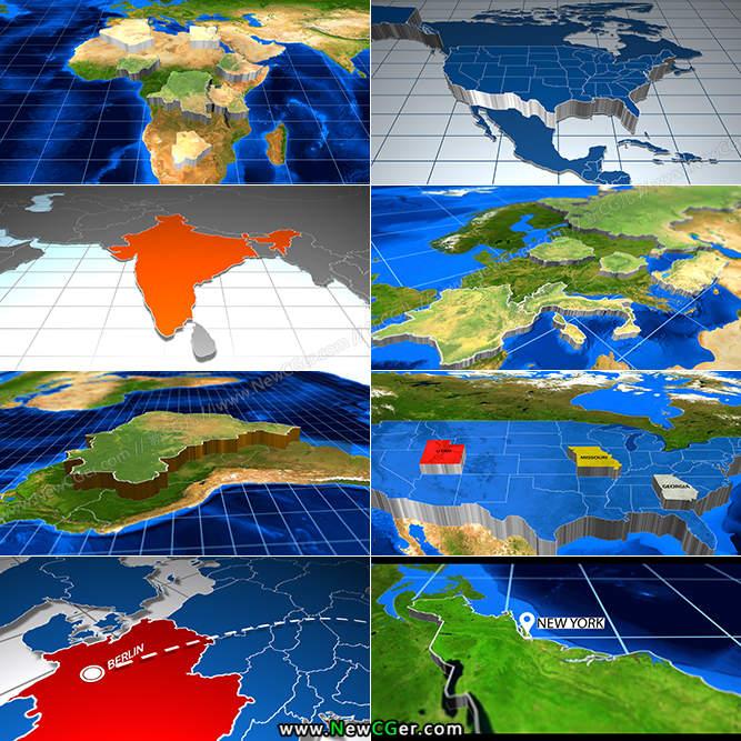震撼宏伟的三维挤压凸起世界地图博览AE模板_百度网盘