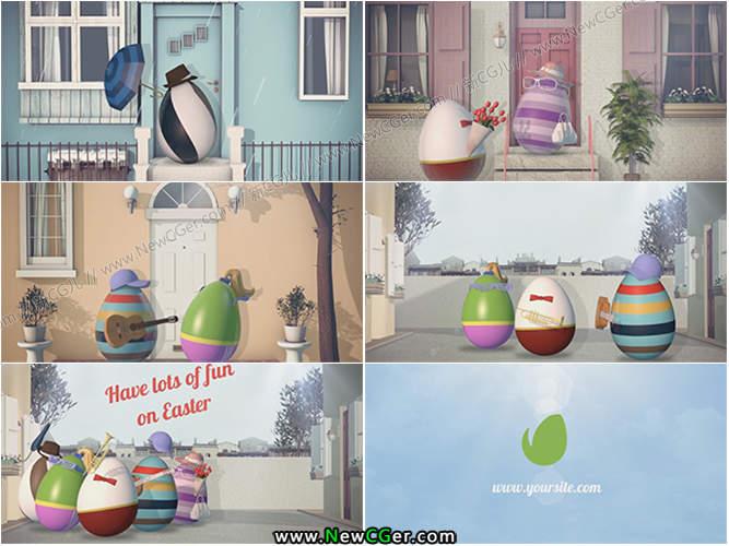 蛋先生一家的快乐复活节清新的复活节问候3D动画AE模板_百度网盘