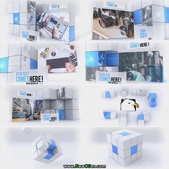 创意科技旋转魔方方块组合AE模板_百度网盘