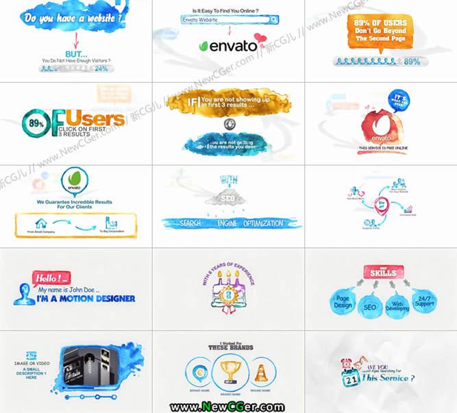 清新水彩样式的商务演示说明素材包AE模板_百度网盘
