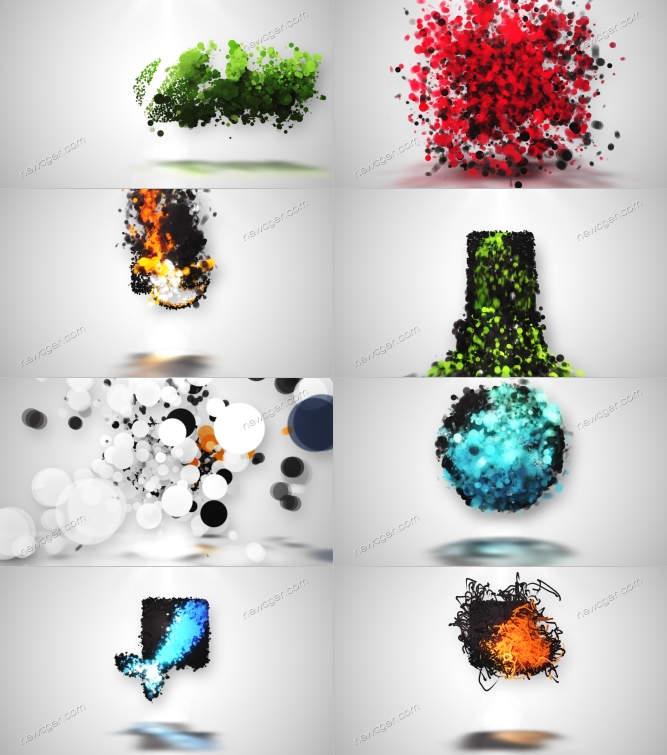 涌动的粒子颗粒与logo揭示AE模板8款入_百度网盘