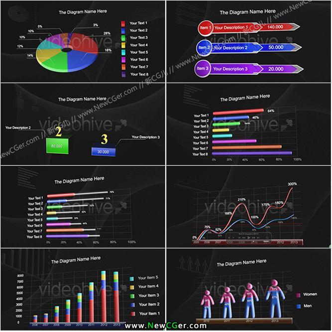 商务科技三维图表信息框图展示合集AE模板_百度网盘