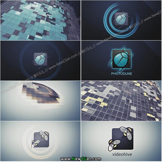 马赛克像素闪烁方块网格拼接logo演绎AE模板_百度网盘